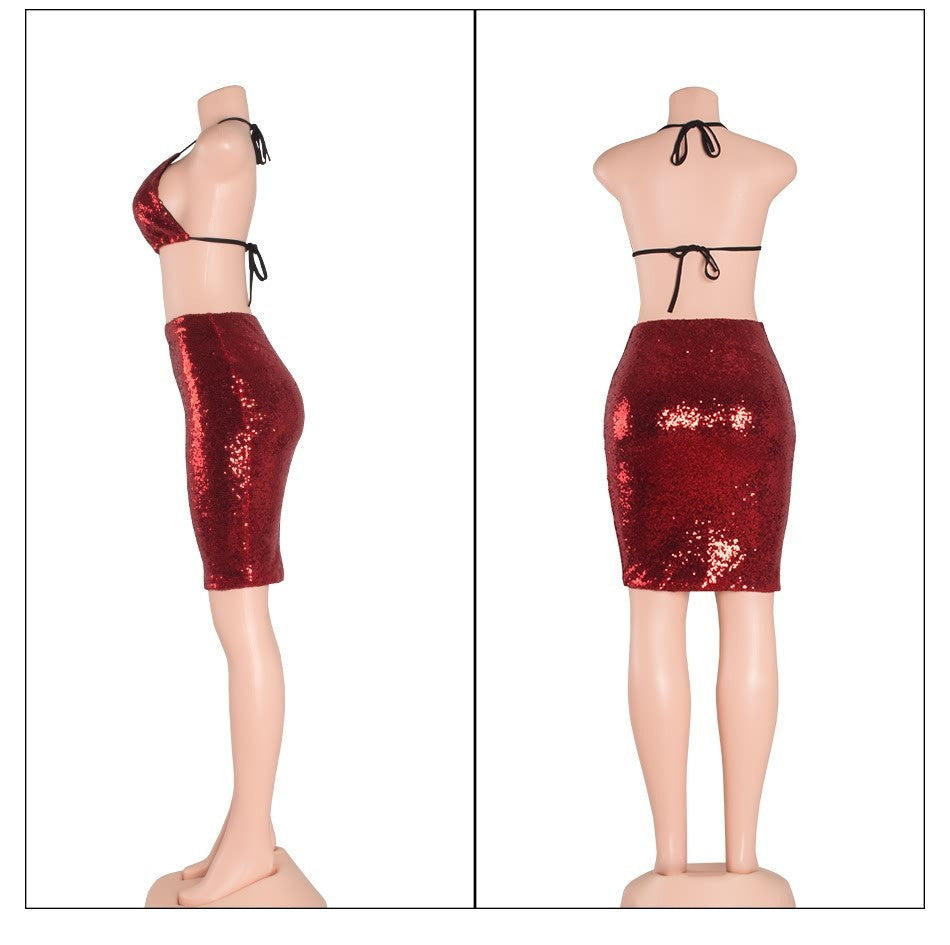 Red Halter Sequin Two Piece