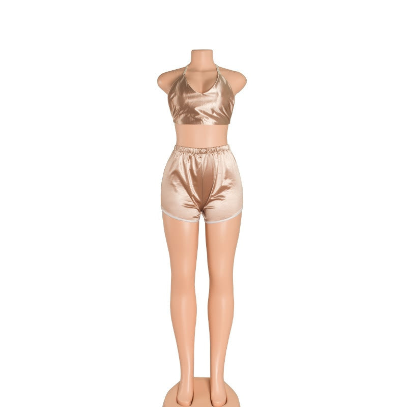 Satin Crop Top & Shorts Set