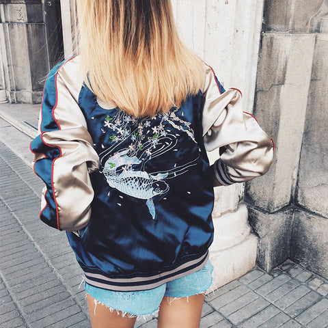 Fish Embroidered Satin Bomber