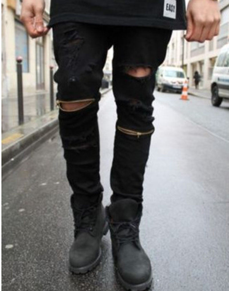 Distressed Zipper Jeans