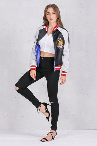 Reversible Tiger and Eagle Embroidered Satin Bomber Jacket