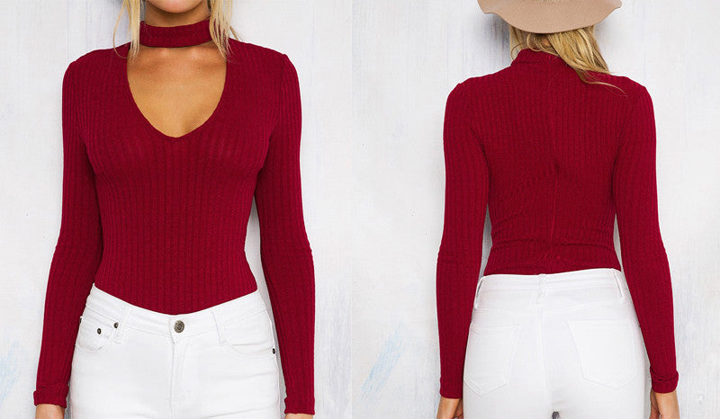 Knitted Choker Bodysuit