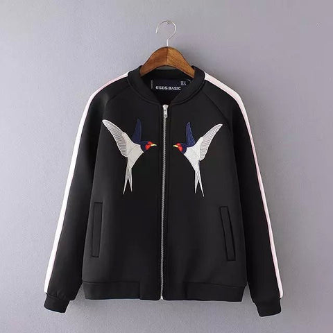 Satin Embroidered Birds Bomber Jacker