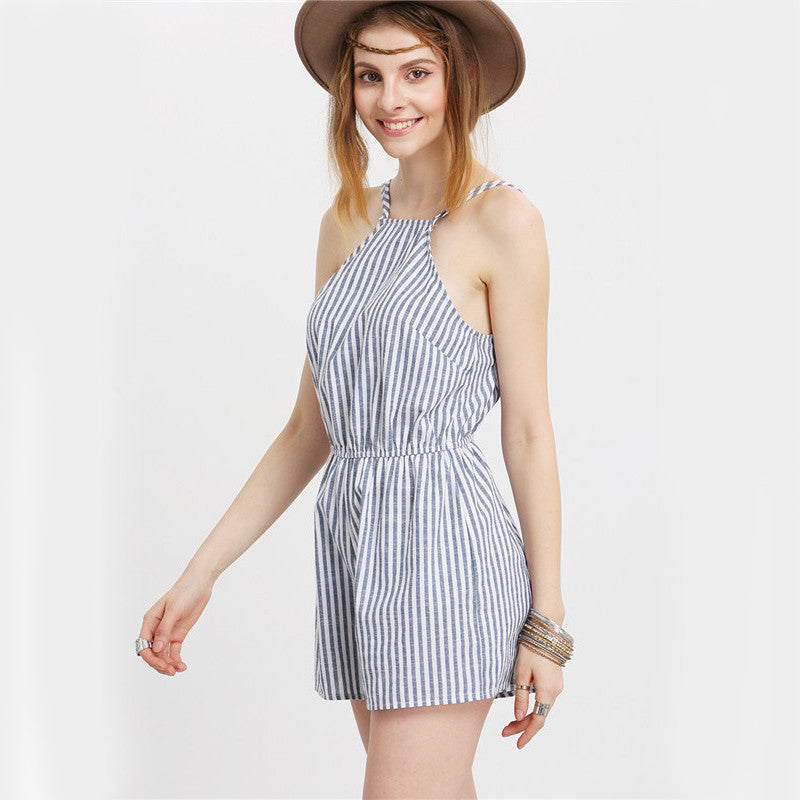 Striped Halter Romper