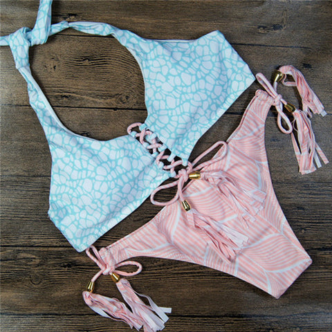 Light Blue and Pink Halter Bikini