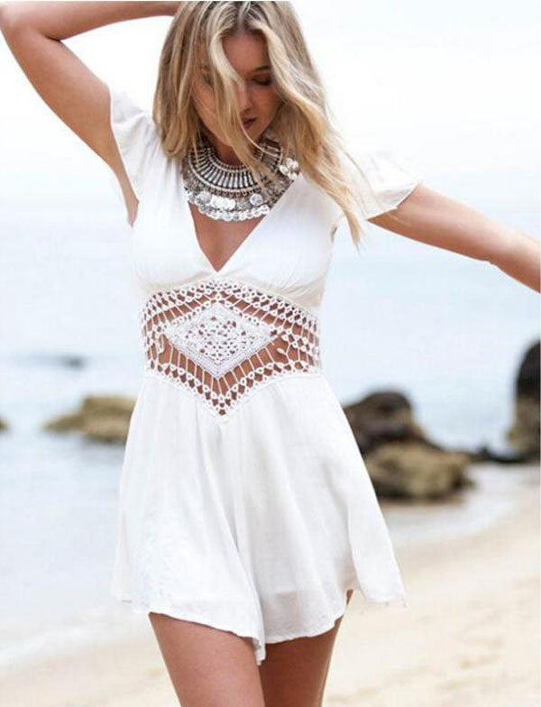 V Neck Short Sleeve Playsuit