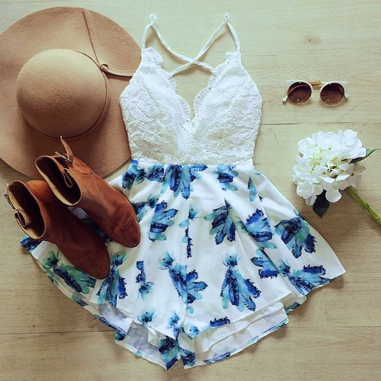 Lace Backless Feather Print Romper