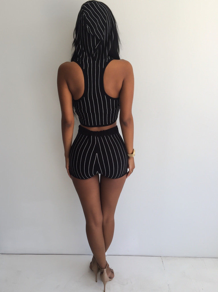 Striped Sleeveless Hooded Two Piece