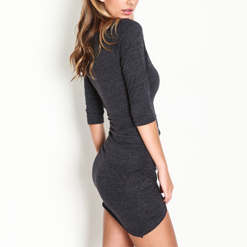 Mini Gray Half Sleeve Dress