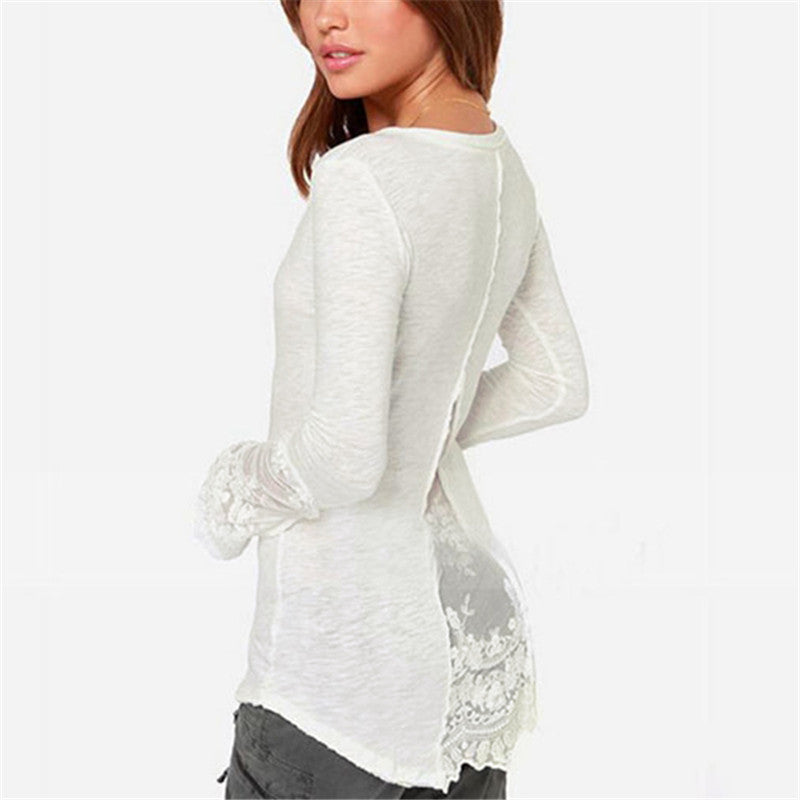 Laced Long Sleeve O-Neck Shirt