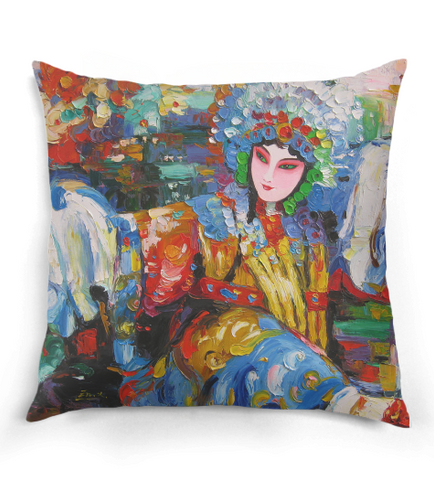 Chinese Opera Oil Painting Pillow