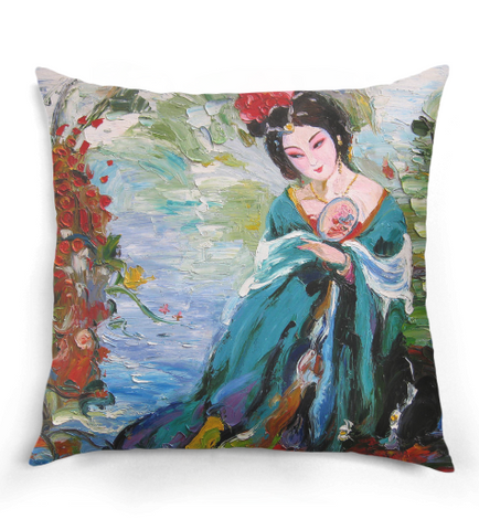 Classic Chinese Women Oil Painting Pillow