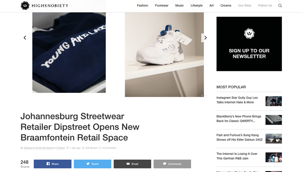 DIPSTREET ON Highsnobiety