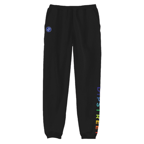 DIPSTREET RAINBOW SWEATPANTS - BLACK