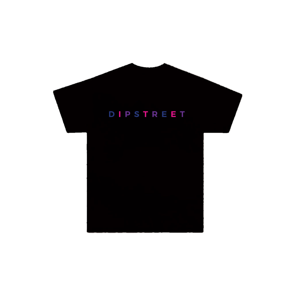 DIPSTREET MULTI-COLOURED LOGO BLK TEE