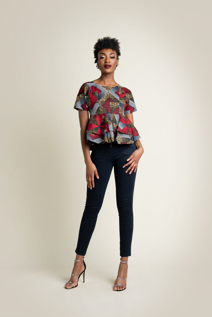 'Onyi' double peplum top