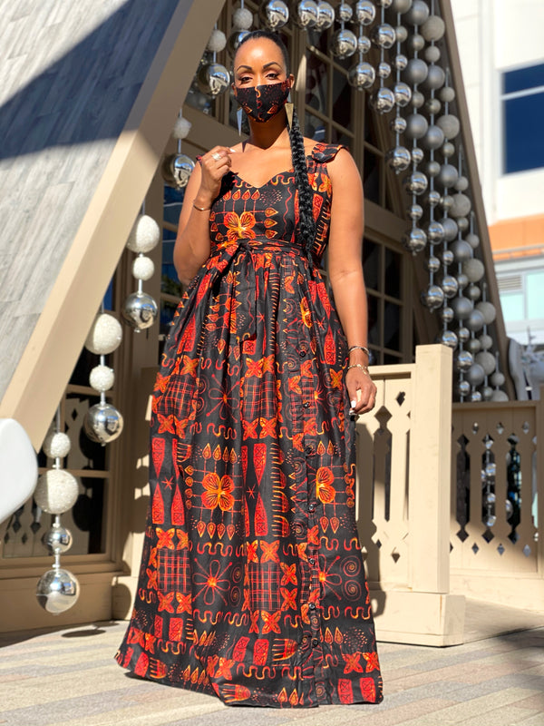 Kamto maxi dress (free matching facemask included)