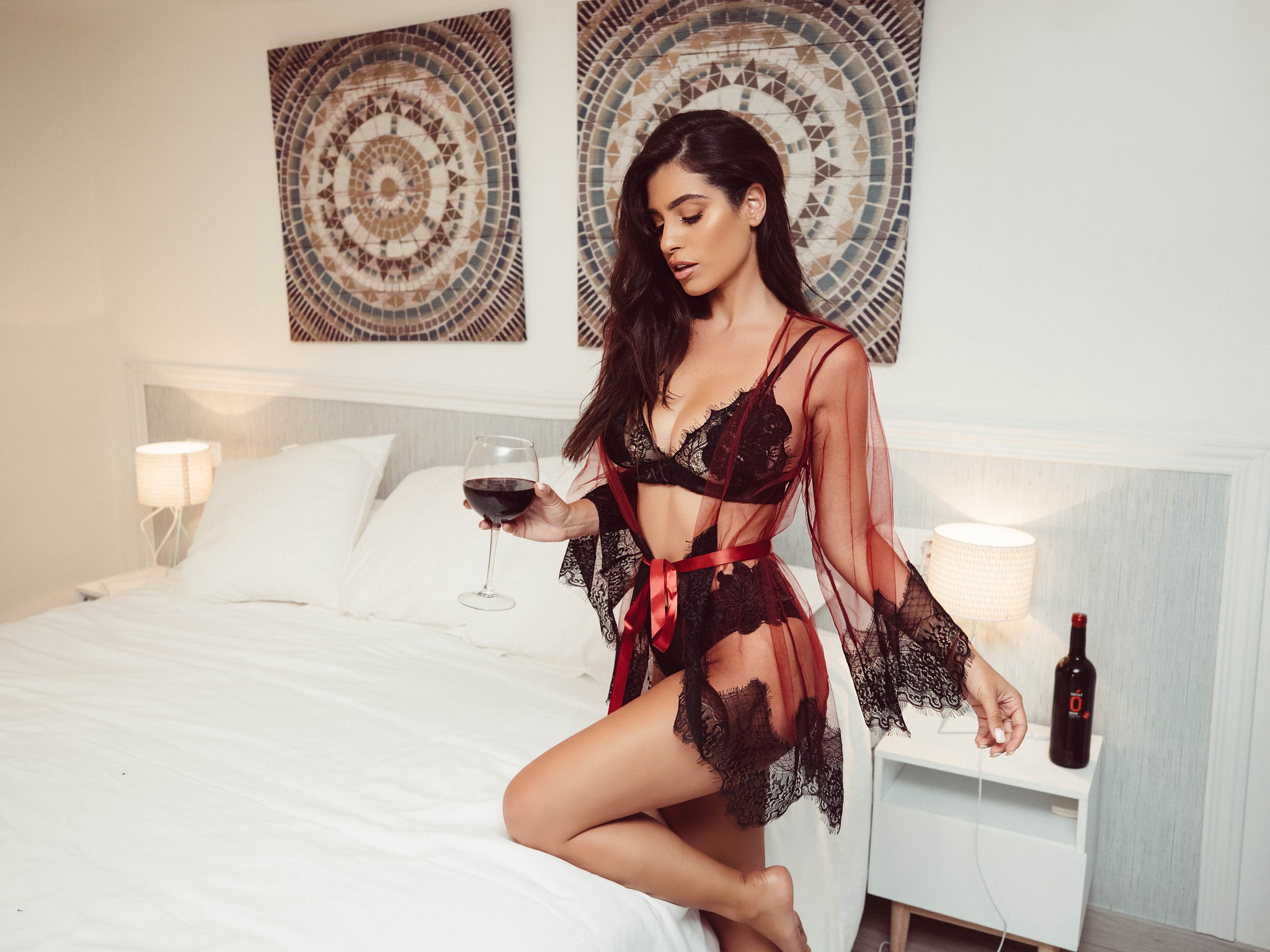 63deb87311 Roma Confidential Lingerie Sheer Robe and Eyelash Bra Set by Saeed Fard