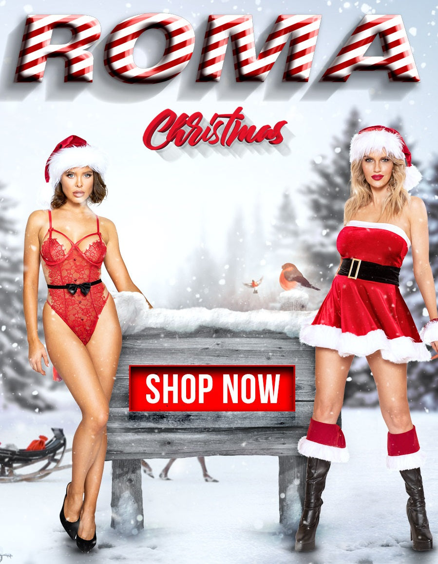 Roma Costume 2019 Christmas Collection with Santa Costumes, Santa Lingerie outfits. Bulk Wholesale. World Wide Drop Ship.