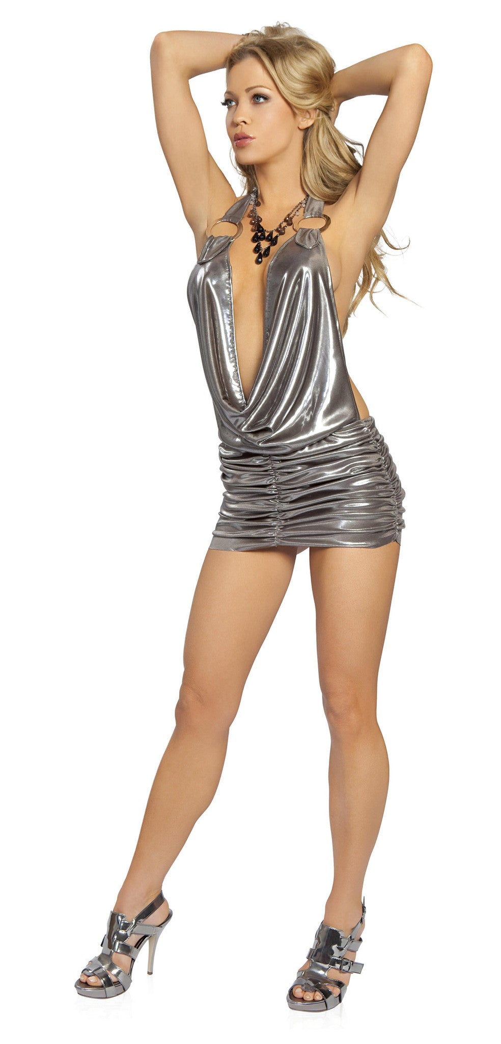 3141 - 1pc Cowl Neck Gunmetal Mini Dress