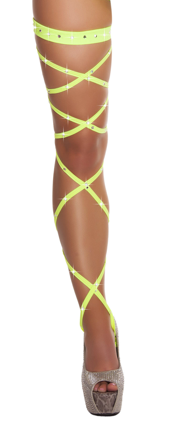 "3233 - 100"" Solid Leg Strap with Attached Garter & Rhinestone Detail ${description} 