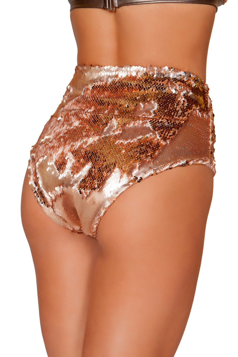 1pc Two-Tone High Waisted Sequin Shorts