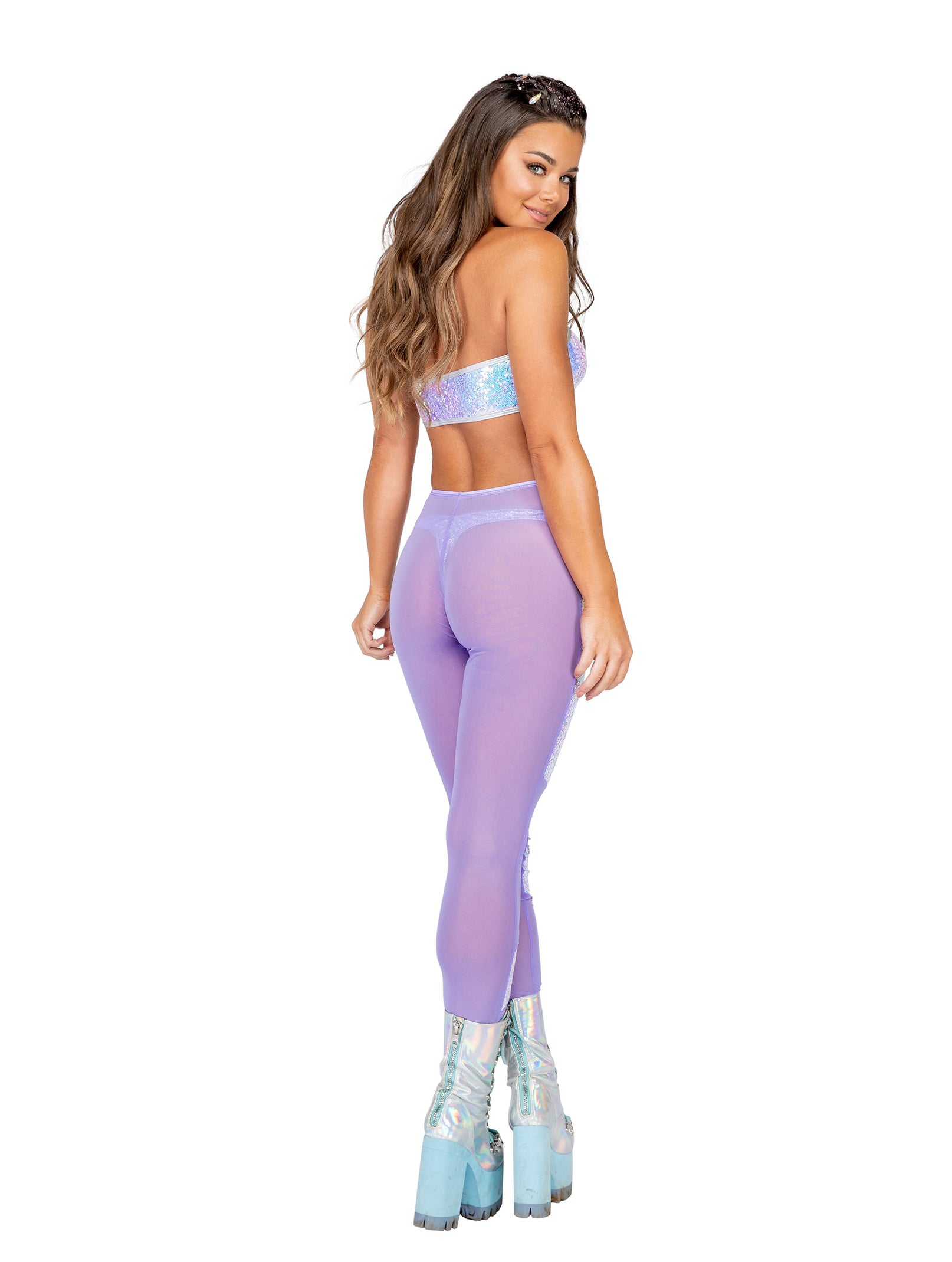 3803 - 1pc Low Rise Sheer Pants with Sequin Chaps Detail