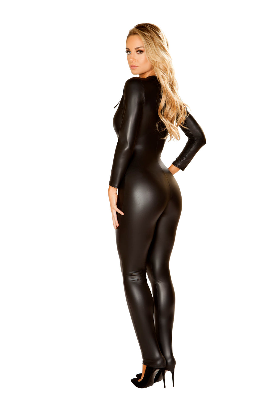4862 - Roma Costume 1pc Multi Purpose Black Catsuit Bodysuit