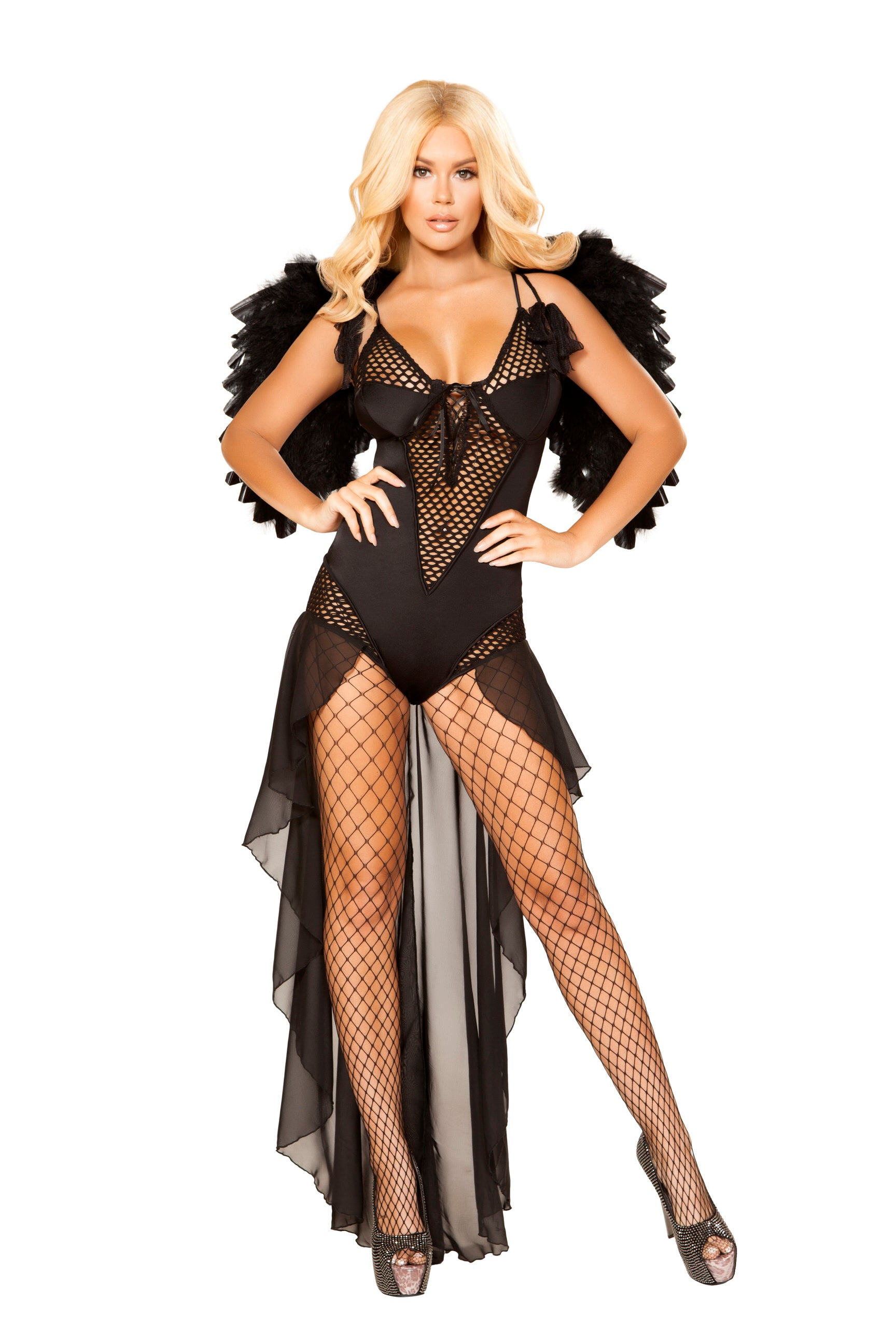 4868 - Roma Costume 1pc Angel of Darkness Fallen Black Angel Feather Wings