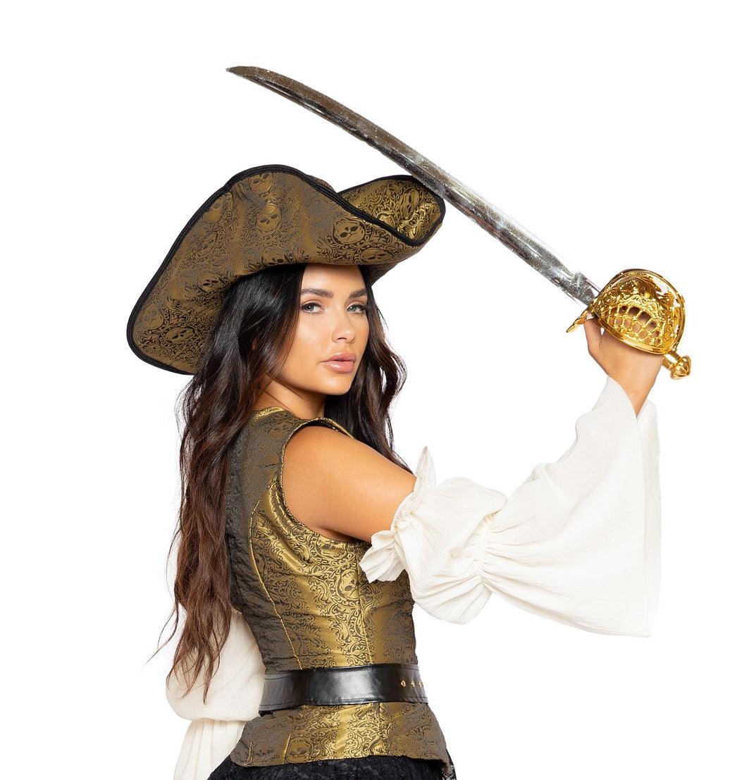 4981 - Gold Skull Pirate Hat