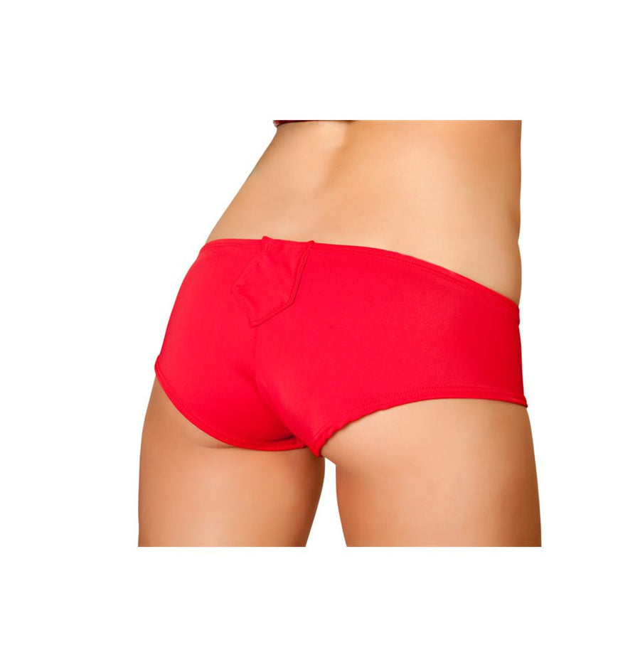 SH3064-Red - Detachable Suspender Short With Belt Loop Detail - Red - Roma Costume Shorts - 1