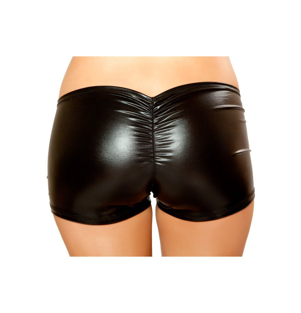 SHLQ229-Blk - Pucker Back Metallic Short - Black - Roma Costume Shorts - 2