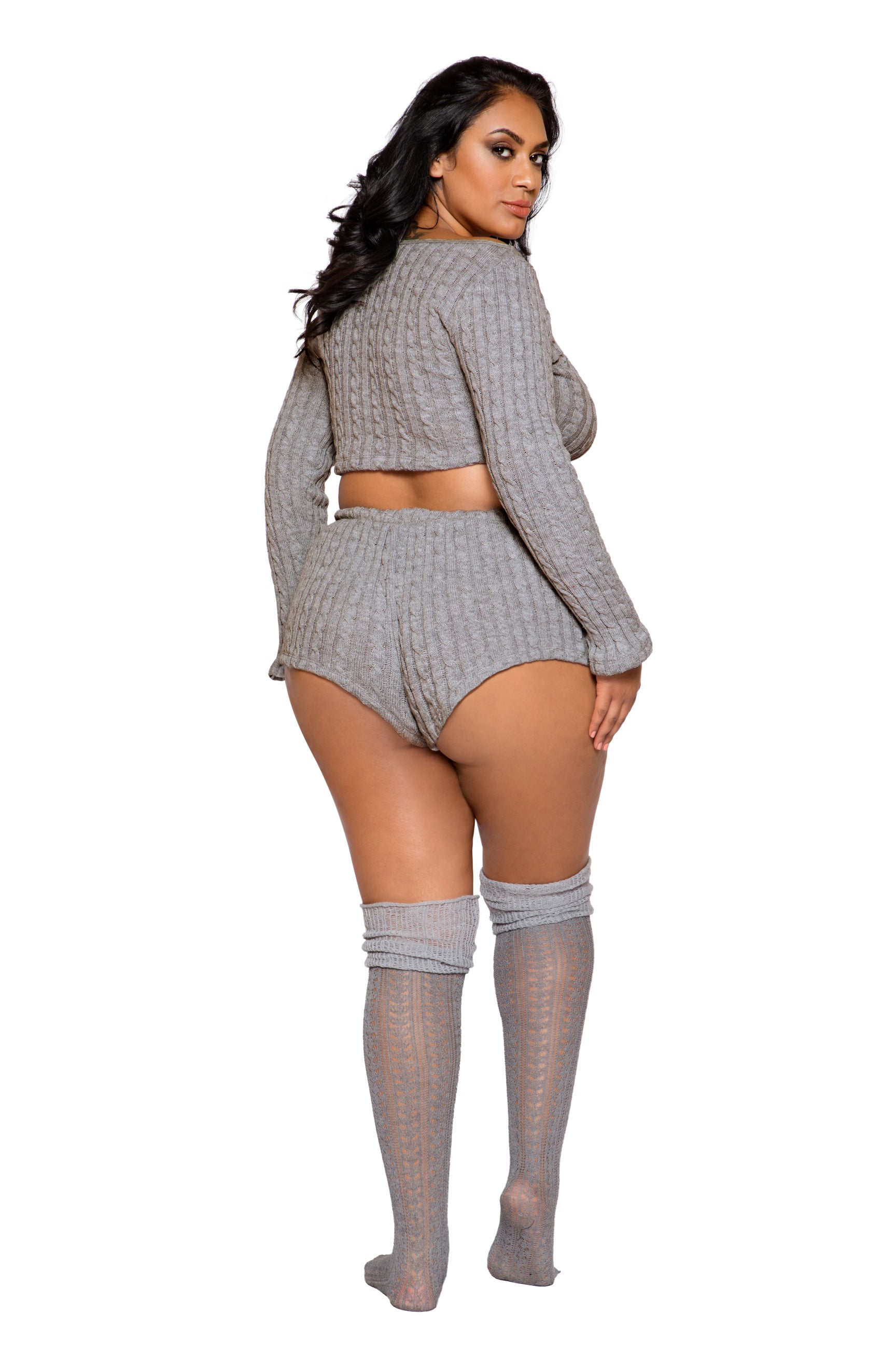 LI287 Roma Confidential Wholesale Plus Size Lingerie Grey Cozy and Comfy Pajama Short Set