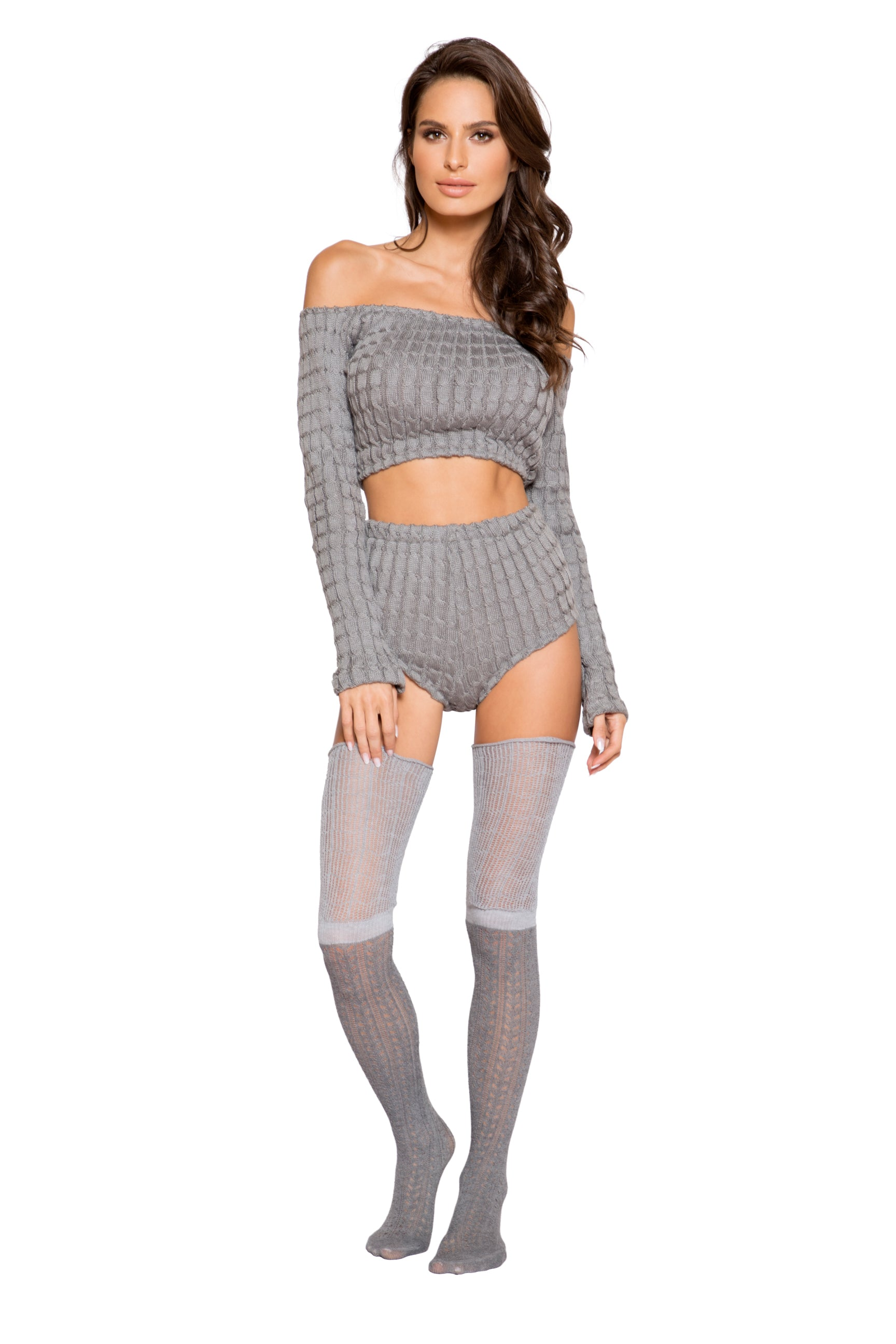 LI287 Roma Confidential Wholesale Lingerie Grey Cozy and Comfy Pajama Short Set