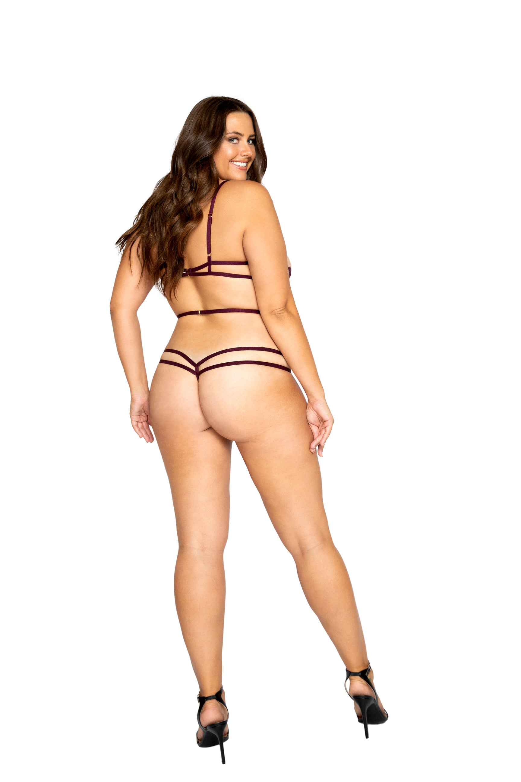 LI325 - Strappy Crotchless Teddy with Underwire Support