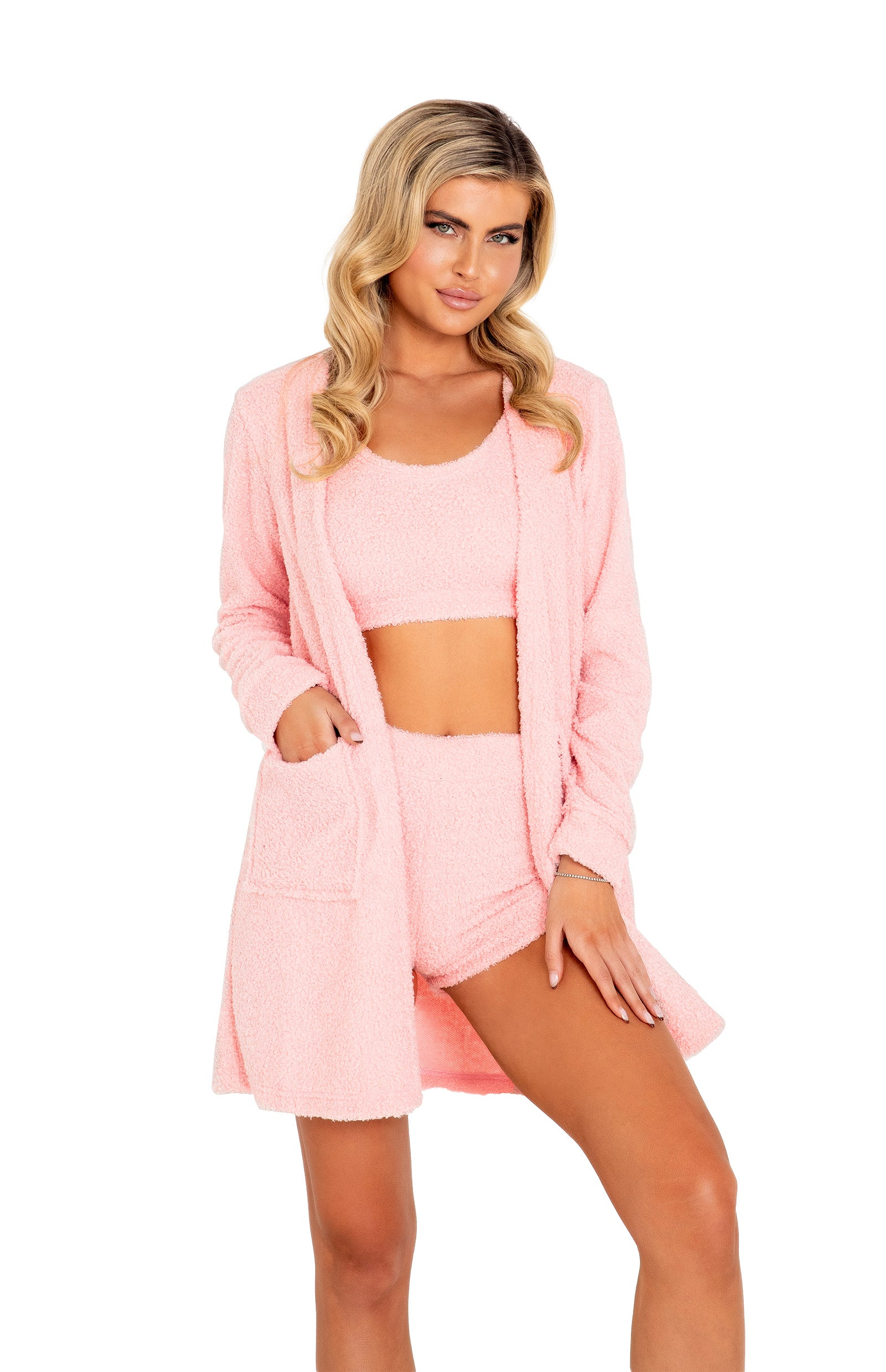 LI411 - 1pc Cozy & Comfy Fuzzy Robe with Pockets
