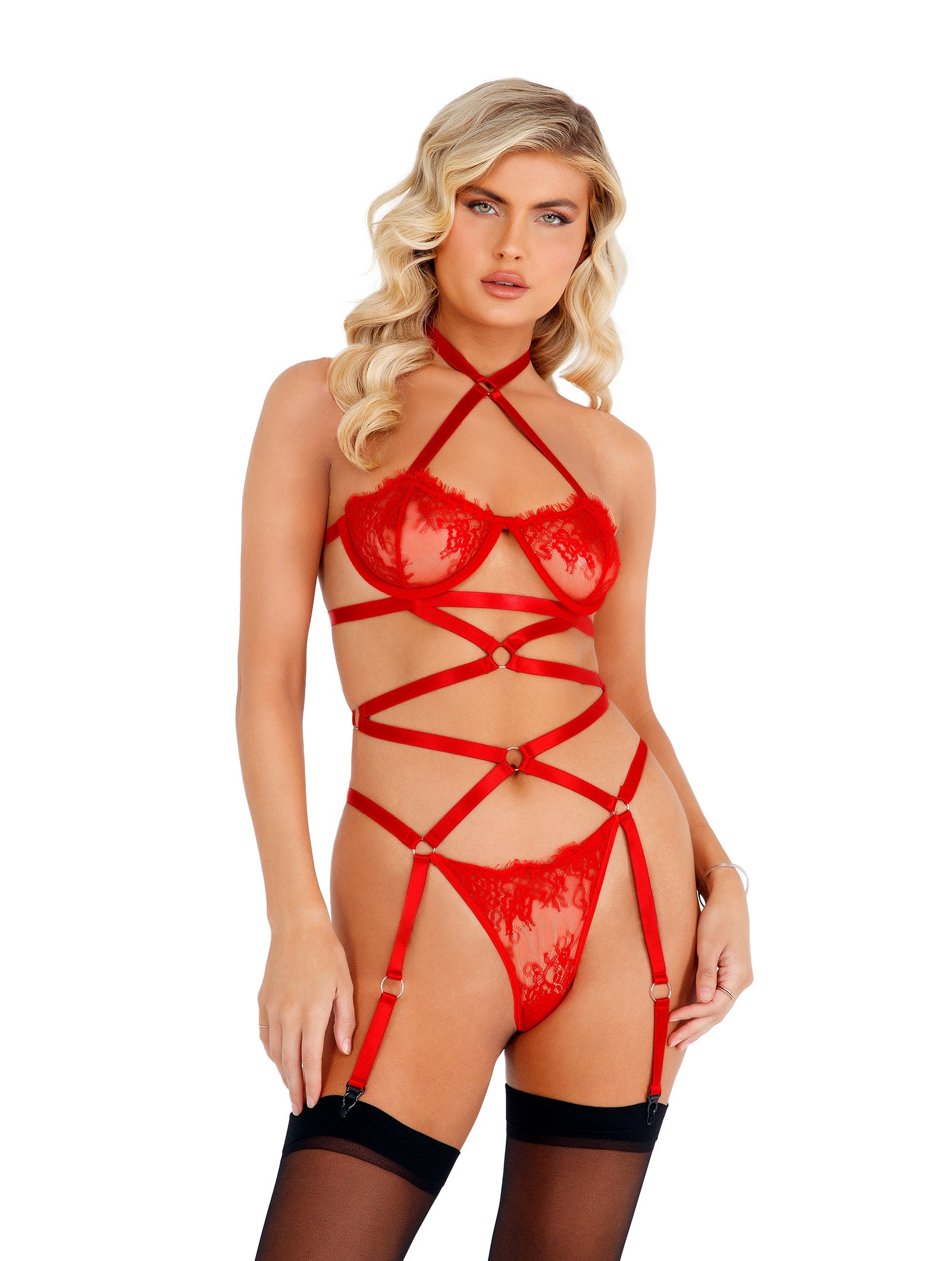 LI421 - Lacey Criss-Cross Underwired Teddy with Garters
