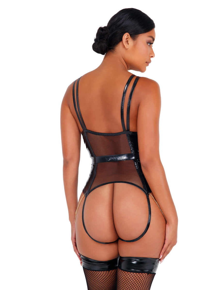 LI436 - 2pc Vinyl Bodysuit with Chain Detail