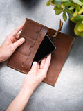 The Leather Phone Wallet in Rustic Red Kodiak Leather
