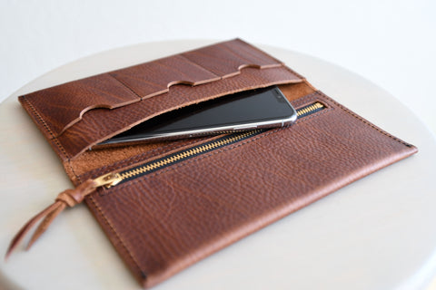 The Leather Phone Wallet in Russet Red Kodiak Leather