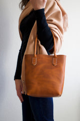 Leather Market Tote Bag in Aged Whiskey Horween Leather