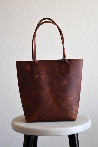 Leather Market Tote Bag in Deep Black Kodiak Leather