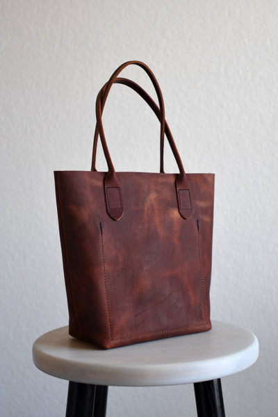 Leather Market Tote Bag in Russet Red Kodiak Leather