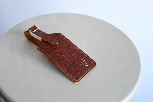 Leather Luggage Tag with Solid Brass Buckle