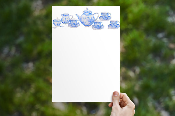 Blue Tea Set Stationery