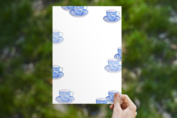 Blue Tea Cup Stationery