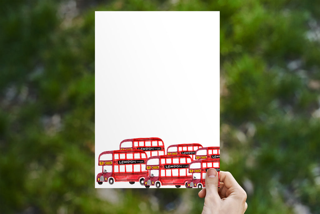 Double Decker Bus Traffic Jam Stationery