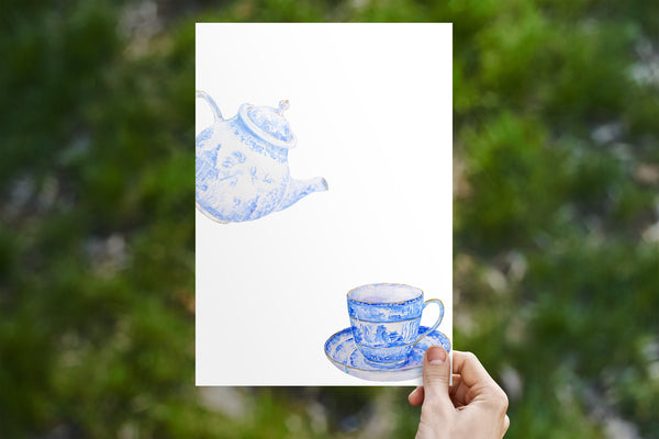 Blue Tea Stationery 6 Page Set