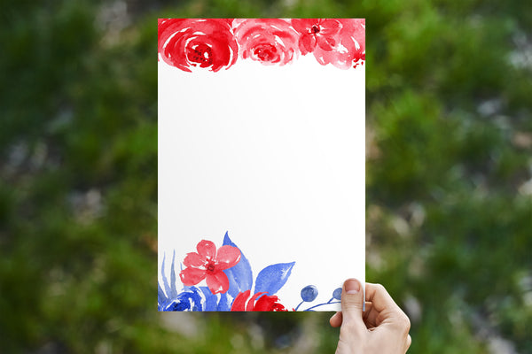 Red + Blue FLoral Stationery