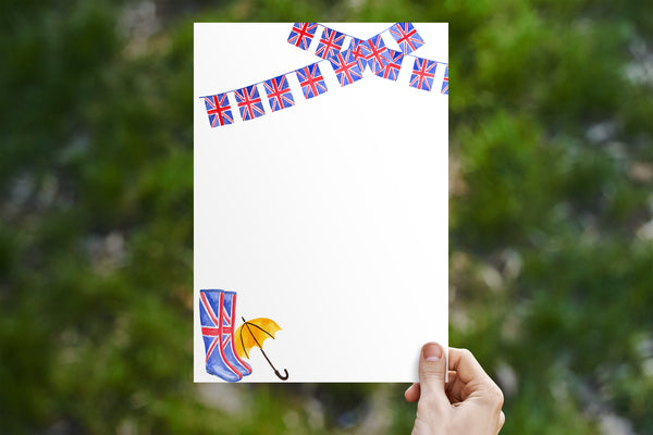Union Jack Bunting with Wellies Stationery